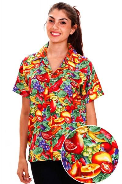 Funky Hawaiibluse | Hawaiihemd | Damen | XS - 6XL | Tutti Frutti | Mehrfarbig