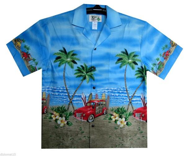 KY's | Original Hawaiihemd | Herren | S - 8XL | Oldtimer Strand Surfbretter | Blau