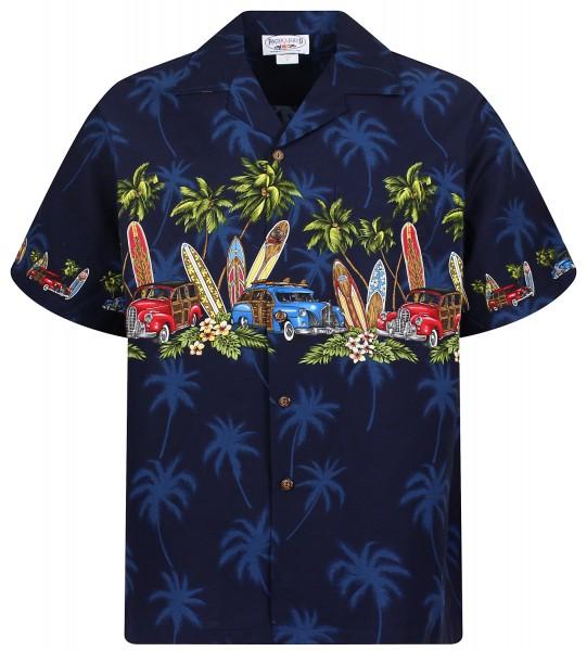 Pacific Legend | Original Hawaiihemd | Herren | S - 4XL | Surfbretter Auto Palmen | Blau
