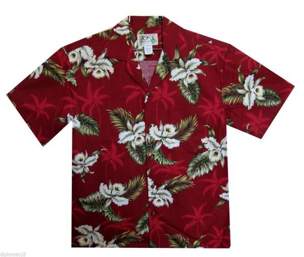 KY's | Original Hawaiihemd | Herren | S - 8XL | Enzian Blüten Blätter | Mehrere Farbvarianten