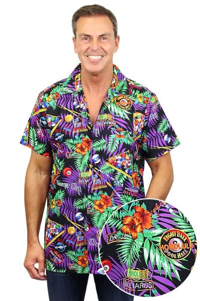 Funky Hawaiihemd   Herren   XS - 6XL   Pool Billiard   Schwarz Mehrfarbig