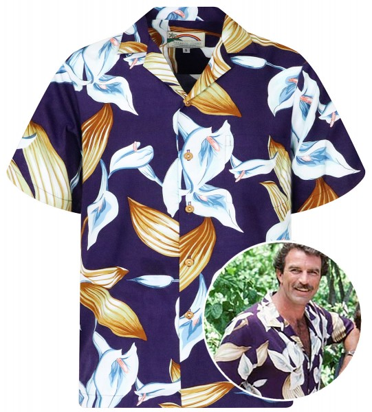 Original Hawaiihemd, Tom Selleck, Calla Lily Violett