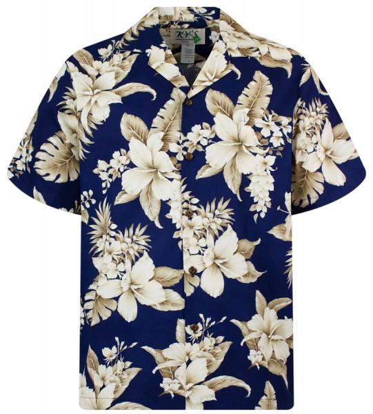 KY's | Original Hawaiihemd | Herren | S-8XL | GoldbrauneBlume | Mehrere Farbvarianten-