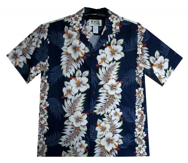 KY's | Original Hawaiihemd | Herren | S - 8XL | Blumen Floral Girlanden | Schwarz