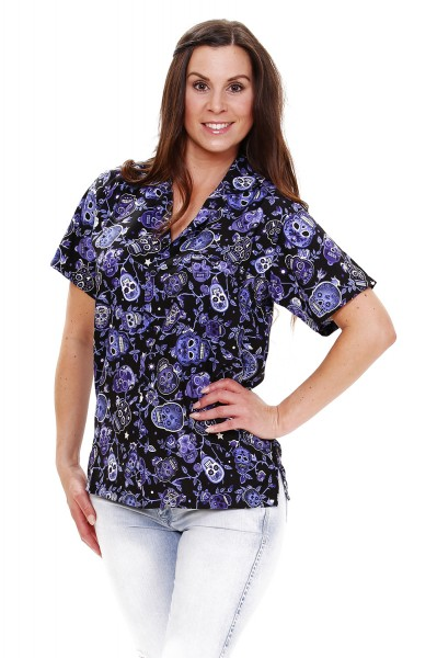 Funky Hawaiibluse | Hawaiihemd | Damen | XS - 6XL | Sugarskulls | Mehrere Farbvarianten