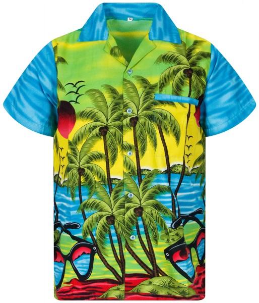 Funky Hawaiihemd | Herren | XS - XXL | Sonnenbrille Palmen Meer | Mehrere Farbvarianten