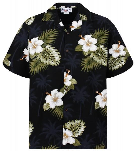 Pacific Legend | Original Hawaiihemd | Herren | S - 4XL | Hibiskus allover | schwarz