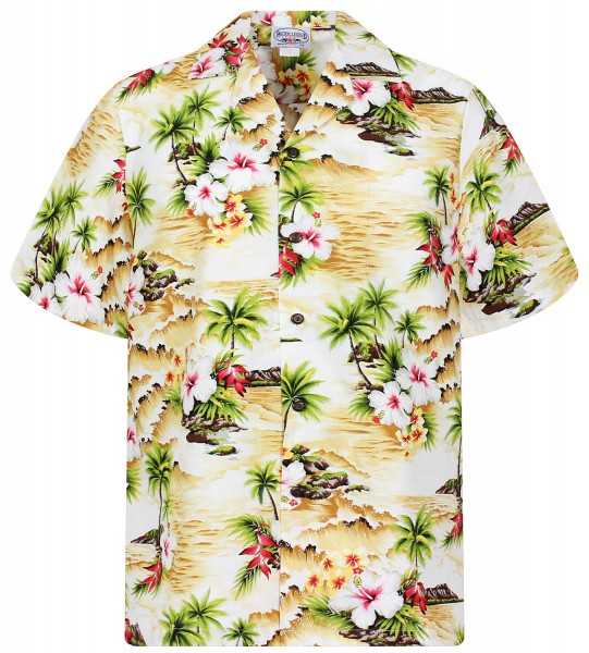 Pacific Legend | Original Hawaiihemd | Herren | S - 4XL | Welle Palmen Blumen | Blau