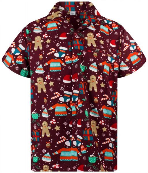 Funky Hawaiihemd Weihnachten Christmas Gingerbread Herren Kurzarm Mehrere Farben