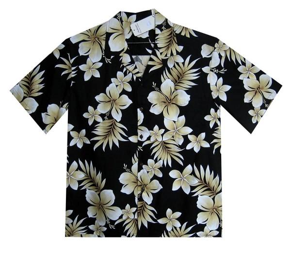 Pacific Legend | Original Hawaiihemd | Herren | S - 4XL | Blumen Palmenblätter Gold | Schwarz