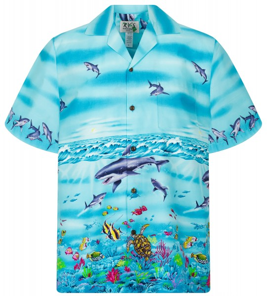 KY's | Original Hawaiihemd | Herren | S - 8XL | Haie Meer Fische | Türkis