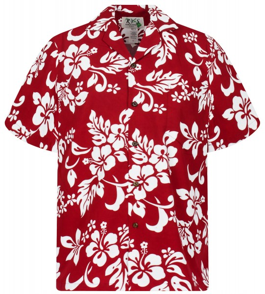 KY's   Original Hawaiibluse für Damen   Hibiskus Hemd for Men   Kurzärmelig   Front-Tasche   Rot
