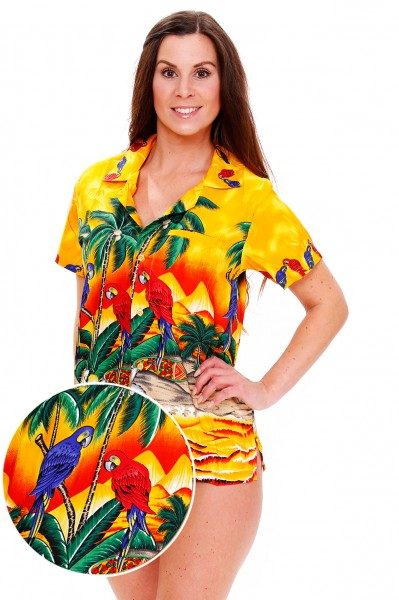 Funky Hawaiibluse | Hawaiihemd | Damen | XS - 6XL | Papagei | Mehrere Farbvarianten