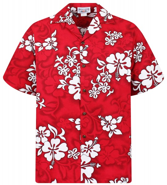 Pacific Legend | Original Hawaiihemd | Herren | S - 4XL | Hibiskus | Rot