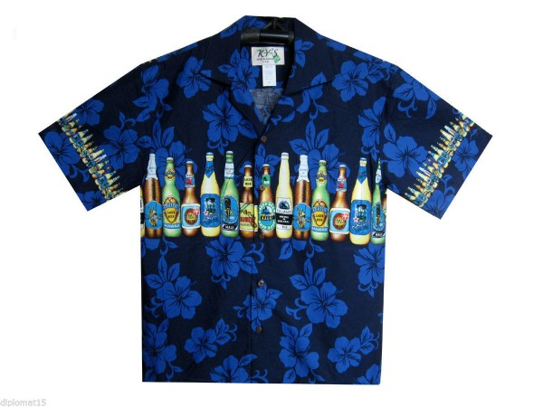 KY's | Original Hawaiihemd | Herren | S - 8XL | Bier Party Blumen | Mehrere Farbvarianten